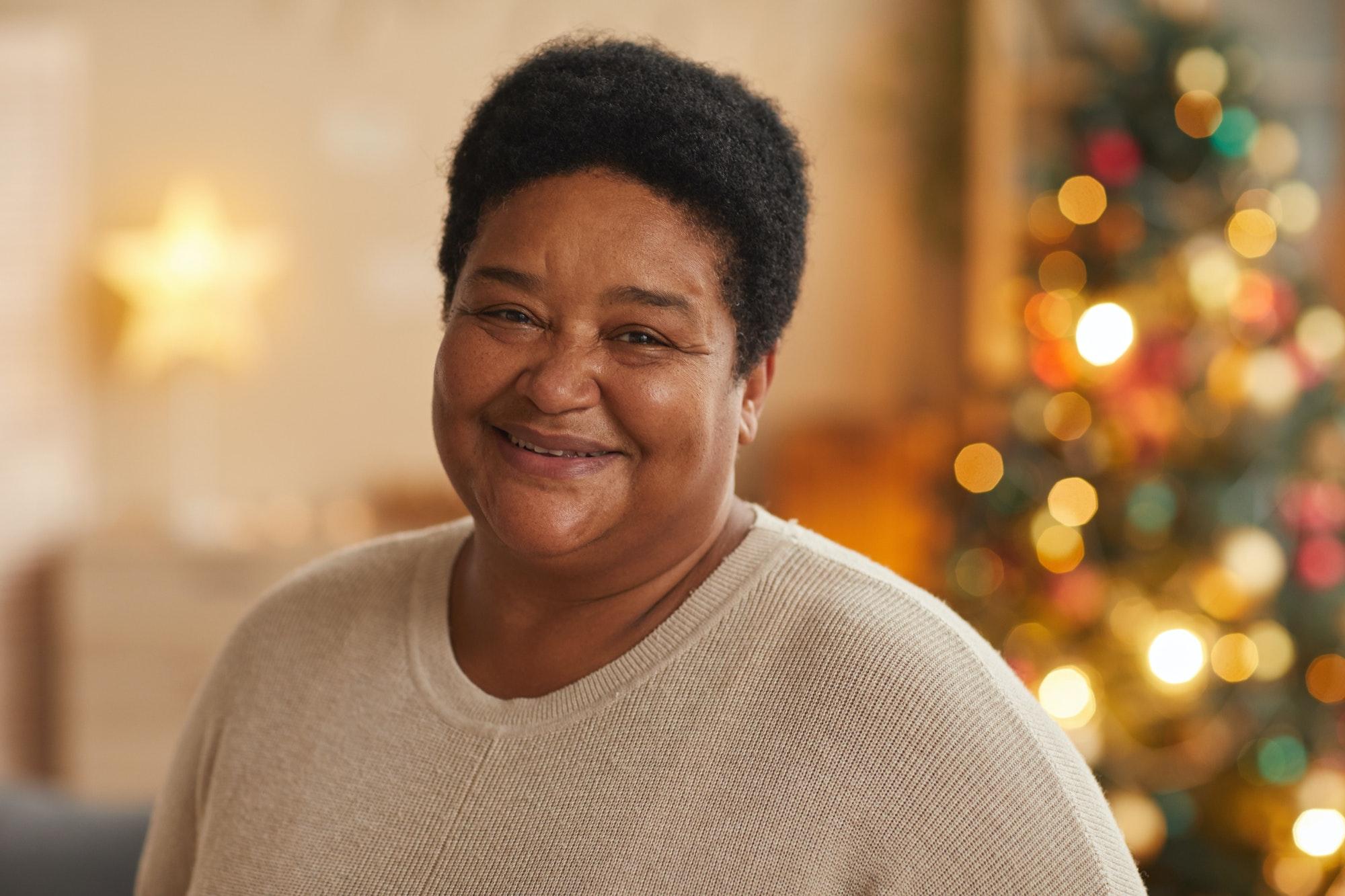 Senior African-American Woman on Christmas